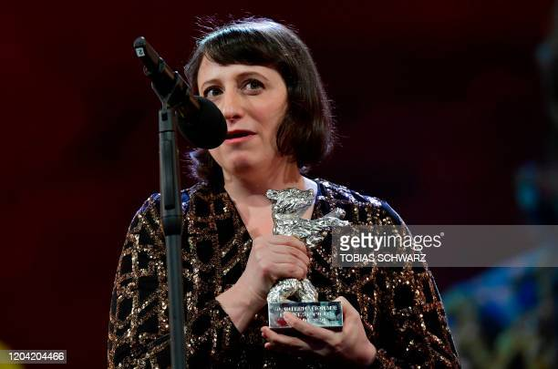 US director Eliza Hittman speaks after receiving Silver Bear Grand Jury Prize during the awarding ceremony of the 70th Berlinale film festival in...