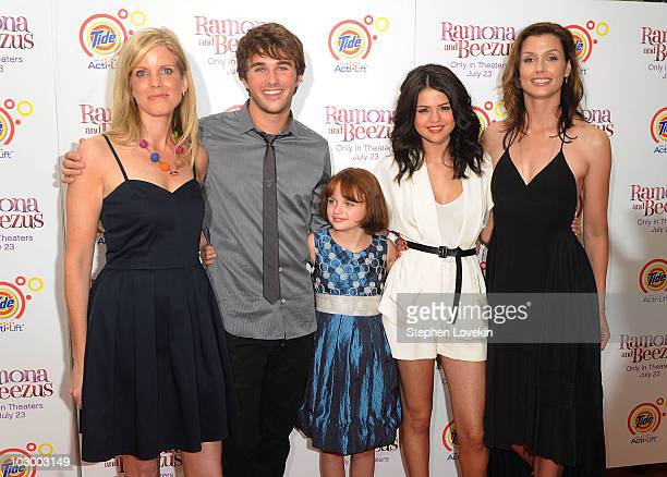 Director Elizabeth Allen actor Hutch Dano actress Joey King actress Selena Gomez and actress Bridget Moynahan attend the premiere of 'Ramona and...
