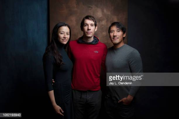 Director Elizabeth Chai Vasarhelyi rock climber Alex Honnold and Jimmy Chin from 'Free Solo' are photographed for Los Angeles Times on September 10...