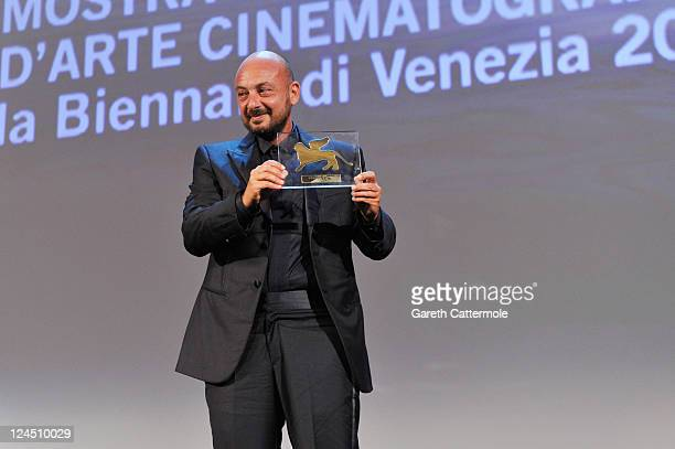 "Director Emanuele Crialese of ""Terraferma"" accepts the Special Jury Prize during the Closing Ceremony during the 68th Venice Film Festival at Palazzo..."