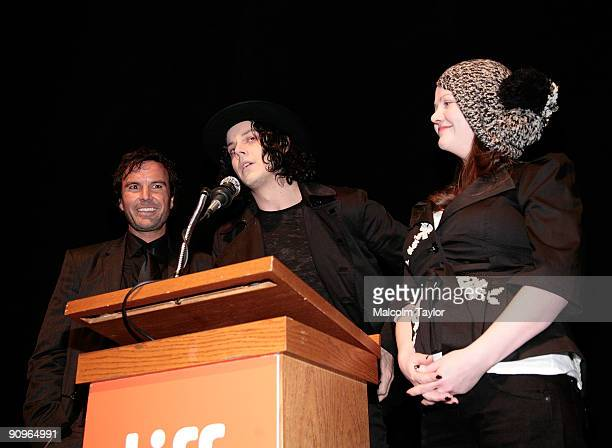 Director Emmett Malloy musicians Jack White and Meg White attend the The White Stripes Under Great White Northern Lights screening held at Elign...