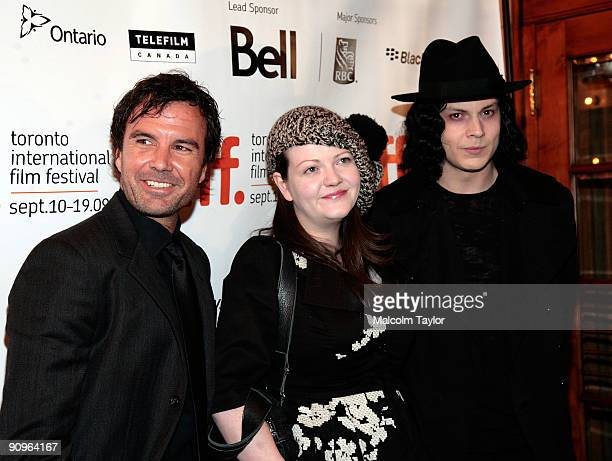 Director Emmett Malloy musicians Meg White and Jack White attend the The White Stripes Under Great White Northern Lights screening held at Elign...