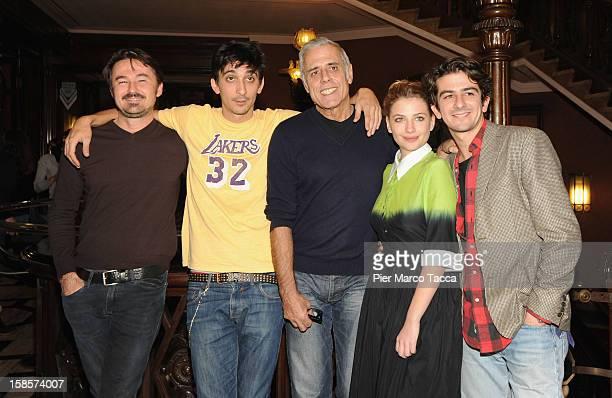 Director Enrico Lando Fabrizio BiggioTeo TeocoliMiriam Giovanelli and Francesco Mandelli attend I 2 Soliti Idioti photocall on December 19 2012 in...