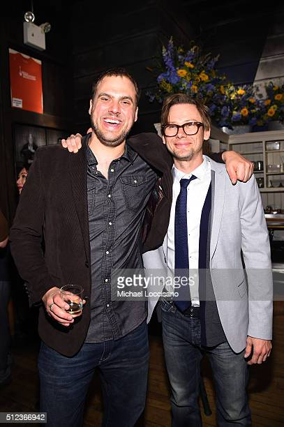 Director EP writer Jim Mickle and actor Jimmi Simpson attend SundanceTV's Hap and Leonard Premiere Party at Hill Country Barbecue Market on February...