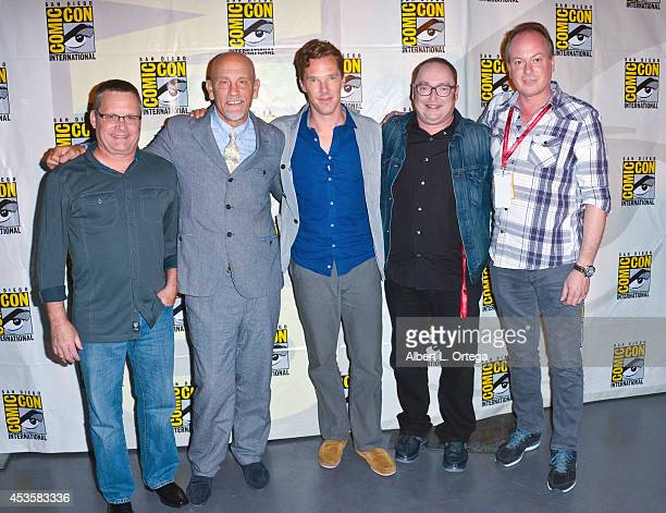 Director Eric Darnell actor John Malkovich actor Benedict Cumberbatch director Simon J Smith and actor/director Tom McGrath at DreamWorks Animation...