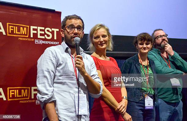 Director Eric Kissack director Lucy Walker director Cara Connolly and director Martin Clark speak onstage at the Shorts Program 1 during the 2014 Los...
