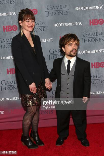 Director Erica Schmidt and actor Peter Dinklage attend the Game Of Thrones Season 4 premiere at Avery Fisher Hall Lincoln Center on March 18 2014 in...