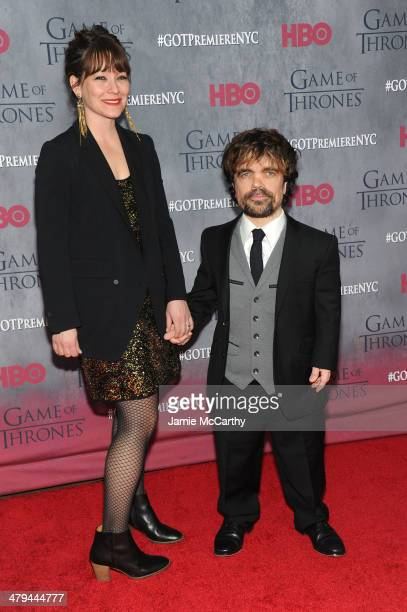 Director Erica Schmidt and actor Peter Dinklage attend the Game Of Thrones Season 4 New York premiere at Avery Fisher Hall Lincoln Center on March 18...
