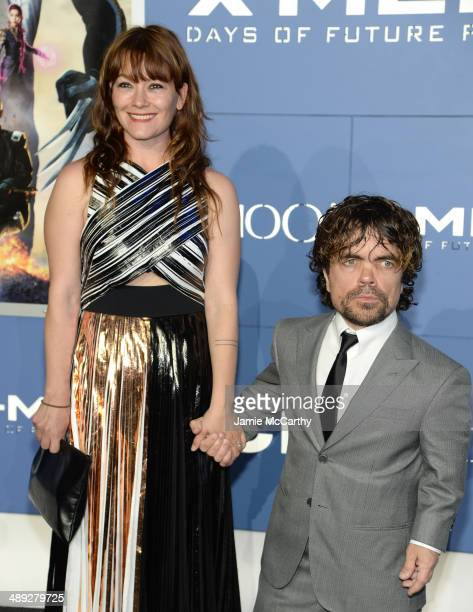 Director Erica Schmidt and Actor Peter Dinklage attends the XMen Days Of Future Past world premiere at Jacob Javits Center on May 10 2014 in New York...
