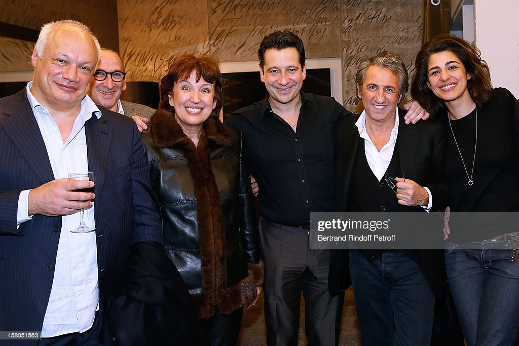 Director Eric-Emmanuel Schmitt, guest, Politician Roseline Bachelot Narquin, Laurent Gerra, actor Richard Anconina and Sarah Doraghi pose backstage following the show of impersonator Laurent Gerra 'Un spectacle Normal' at L'Olympia on December 19, 2013 in Paris, France.