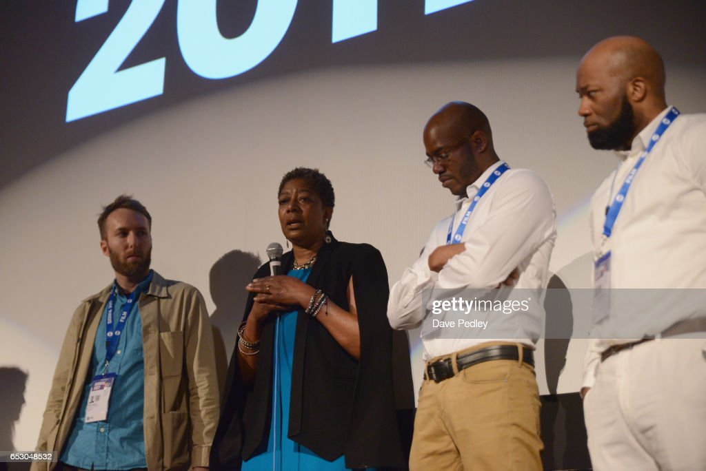 Director Erik Ljung, film subjects Maria Hamilton, Nate Hamilton and Dameion Peters speak onstage at the premiere of 'The Blood Is at the Doorstep' during 2017 SXSW Conference and Festivals at Alamo Ritz on March 13, 2017 in Austin, Texas.