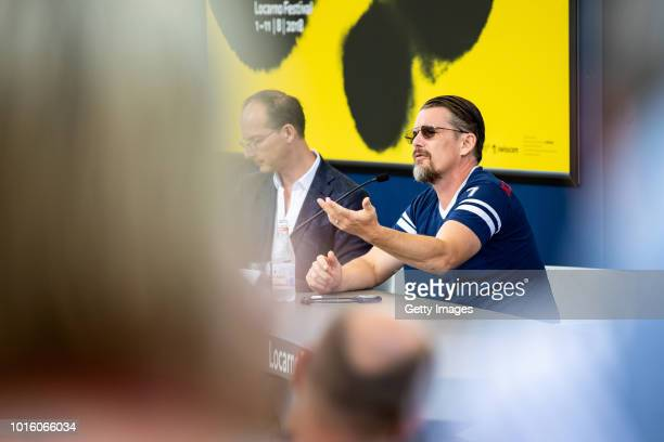 Director Ethan Hawke attends the Excellence Award press conference during the 71st Locarno Film Festival on August 8 2018 in Locarno Switzerland