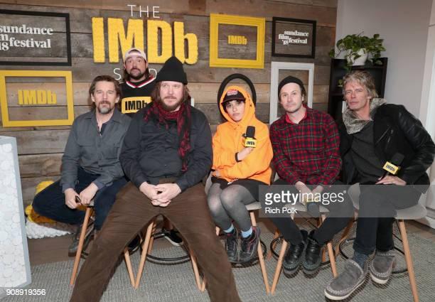 Director Ethan Hawke moderator Kevin Smith actors Ben Dickey Alia Shawkat Josh Hamilton and Charlie Sexton of 'Blaze' attend The IMDb Studio and The...