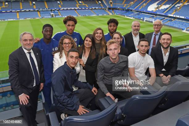 Director Eugene Tenenbaum Robert Singer Chairman Bruce Buck and Academy players Jon Russell Clinton Mola and Marcel Lavinier with the winners from...