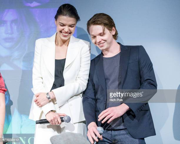 Director Eva Doležalová and actor Jack Kilmer on stage at an event where Flaunt Presents a private screening of Eva Dolezalova's Carte Blanche at...