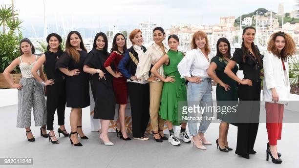 Director Eva Husson poses with actresses Maia Shamoevi a guest Roza Mirzoiani Sinama Alievi Mari Samidovi Golshifteh Farahani Evin Ahmad Emmanuelle...