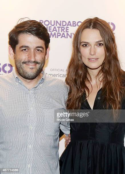 Director Evan Cabnet and Keira Knightley pose at the Roundabout Theater Company's 50th Anniversary Season Party at The American Airlines Theater...