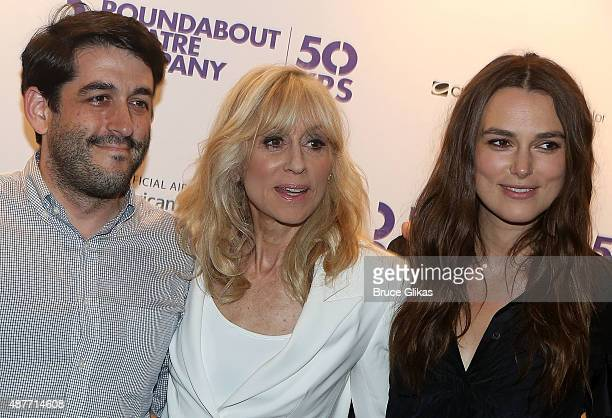 Director Evan Cabnet Judith Light and Keira Knightley pose at the Roundabout Theater Company's 50th Anniversary Season Party at The American Airlines...