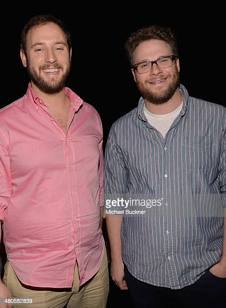 "Director Evan Goldberg and actor Seth Rogen attend Universal Pictures screening of ""Neighbors"" at The Colosseum at Caesars Palace during CinemaCon..."