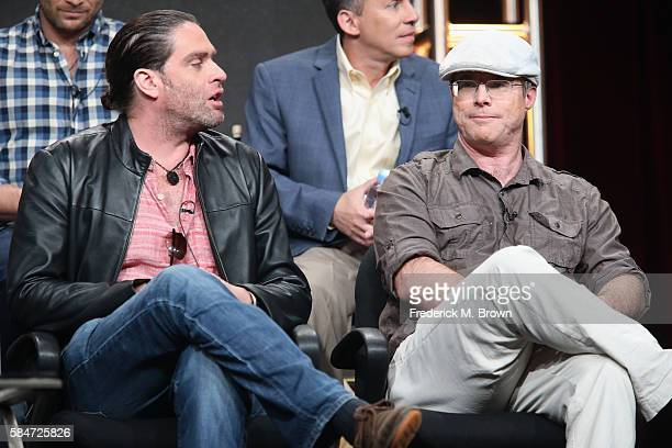 Director Everardo Gout and author Andy Weir speak onstage during the 'National Geographic Channel MARS' panel discussion at the National Geographic...