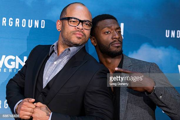 Director / Executive Producer Anthony Hemingway and Actor Aldis Hodge attend the Screening And Panel For WGN America's Underground at the Landmark...