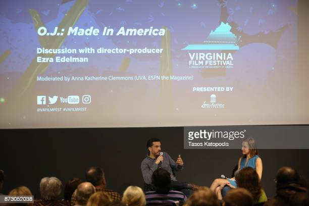 Director Ezra Edelman and moderator Anna Katherine Clemmons speak onstage at the 'OJ Made in America' screening and QA at Vinegar Hill Theatre during...