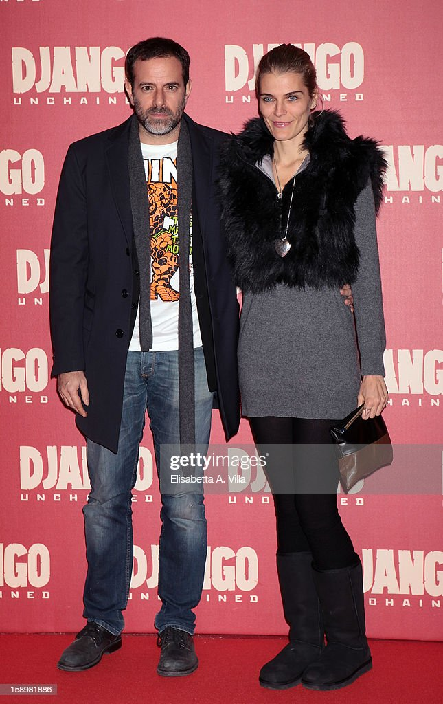 Director Fausto Brizzi and actress Claudia Zanella attend 'Django Unchained' premiere at Cinema Adriano on January 4, 2013 in Rome, Italy.