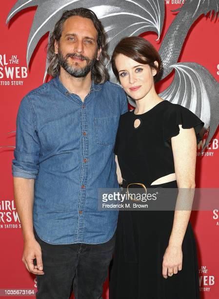 Director Fede Alvarez and actress Claire Foy attend the 'Girl in The Spider's Web' photo call at Sony Pictures Studios on September 18 2018 in Culver...