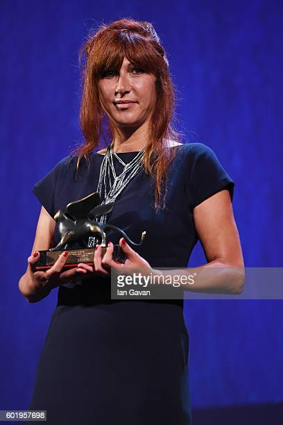 Director Federica Di Giacomo poses with Orizzonti Award for Best Film for 'Liberami' during the closing ceremony of the 73rd Venice Film Festival at...