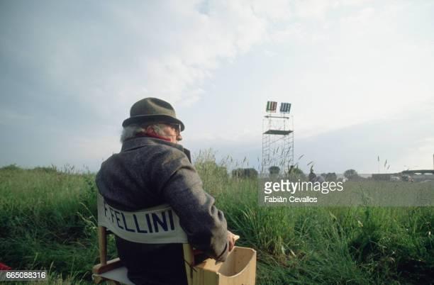 Director Federico Fellini in 1989 on the set of his last film La Voce della Luna or The Voice of the Moon