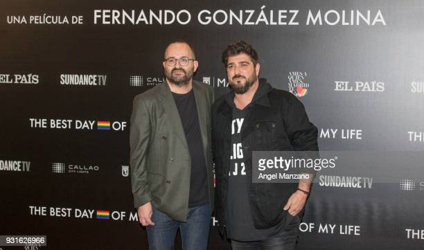 Director Fernando Gonzalez Molina and singer Antonio Orozco attend 'The Best Day Of My Life' Madrid premiere at Callao cinema on March 13 2018 in...