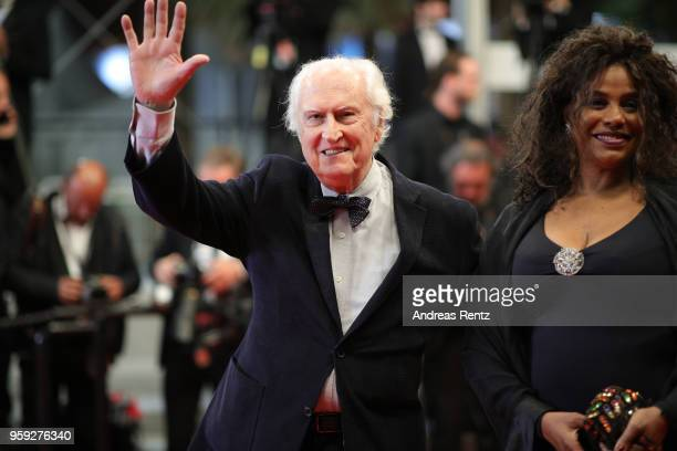 Director Fernando Solanas and his wife Angela Correa attend the screening of 'Dogman' during the 71st annual Cannes Film Festival at Palais des...