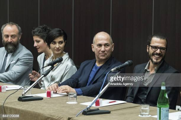 Director Ferzan Ozpetek actor Mehmet Gunsur actress Tuba Buyukustun and actor Halit Ergenc attend the press conference of the movie 'Rosso Istanbul'...