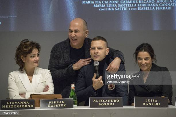 Director Ferzan Ozpetek actress Giovanna Mezzogiorno actor Alessandro Borghi actress Luisa Ranieri attend press conference of the movie 'Napoli...