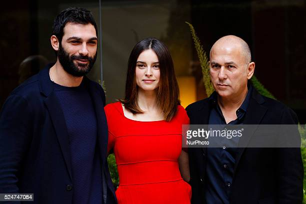 director Ferzan Ozpetek with Francesco Arca and Kasia Smutniak attends Fasten your Seatbelts photocall in Rome Visconti Palace