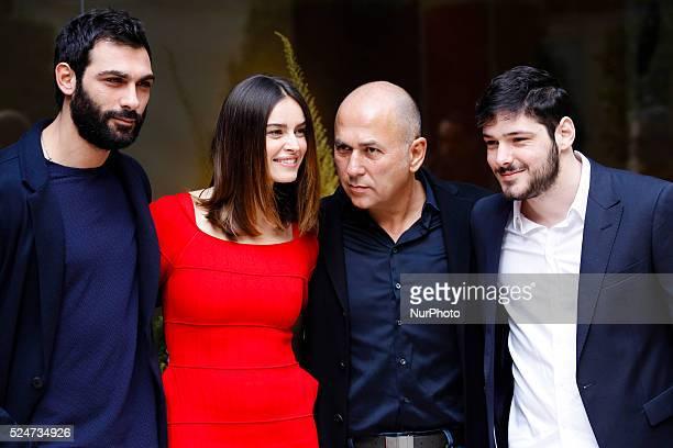 director Ferzan Ozpetek with Francesco Arca Kasia Smutniak and Filippo Scicchitano attends Fasten your Seatbelts photocall in Rome Visconti Palace
