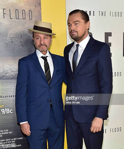 Director Fisher Stevens and executive producer Leonardo DiCaprio attend the screening of National Geographic Channel's Before The Flood at Bing...