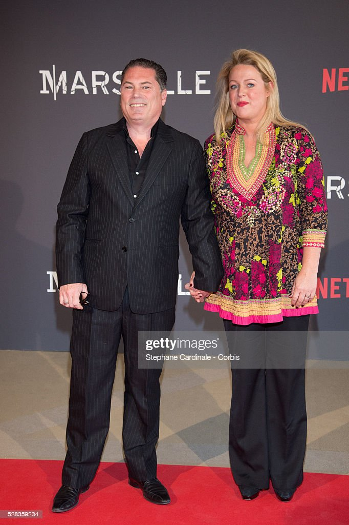Director Florent-Emilio Siri and his Wife attend the 'Marseille' Netflix TV Serie World Premiere At Palais Du Pharo In Marseille, on May 4, 2016 in Marseille, France.