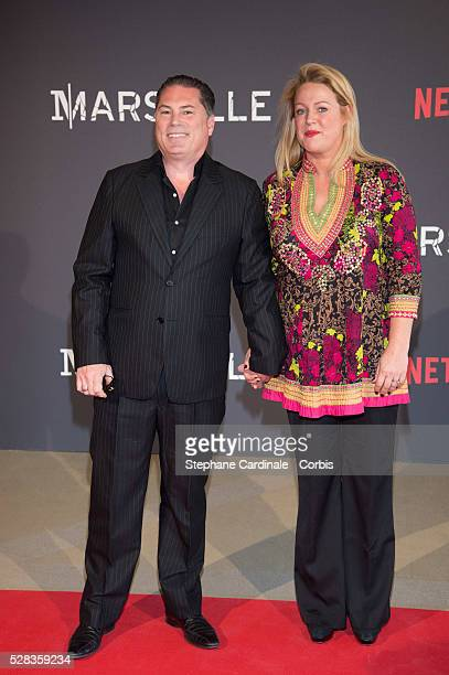 Director FlorentEmilio Siri and his Wife attend the 'Marseille' Netflix TV Serie World Premiere At Palais Du Pharo In Marseille on May 4 2016 in...