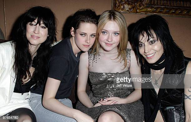 Director Floria Sigismondi actress Kristen Stewart actress Dakota Fanning and singer Joan Jett attend the after party for the Los Angeles premiere of...
