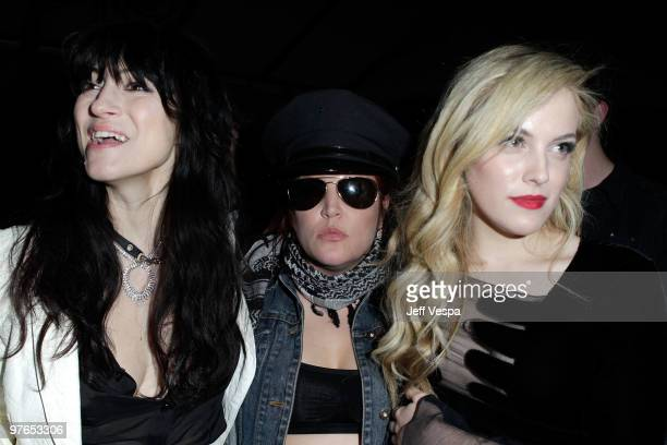 Director Floria Sigismondi Lisa Marie Presley and actress Riley Keough attend the after party for the Los Angeles premiere of The Runaways presented...