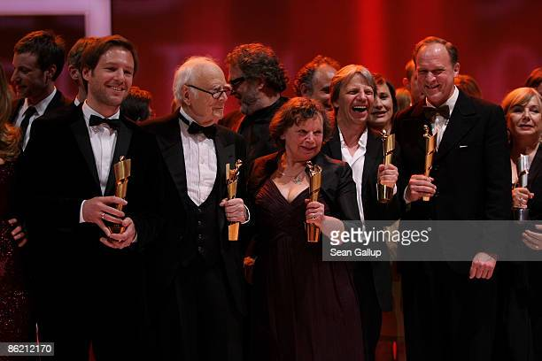 Director Florian Gallenberger, comedian Vicco von Buelow, actress Ursula Werner, director Andreas Dresen and actor Ulrich Tukur pose with their Lola...