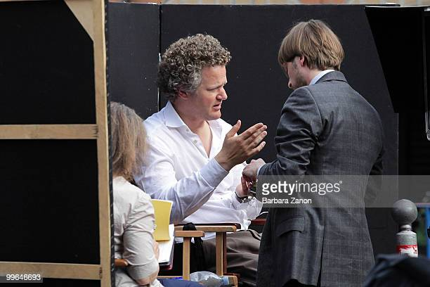 Director Florian Henckel von Donnersmarck with the actor Julien Baumgartner on location for the movie The Tourist at Piazza Ferretto on May 17 2010...