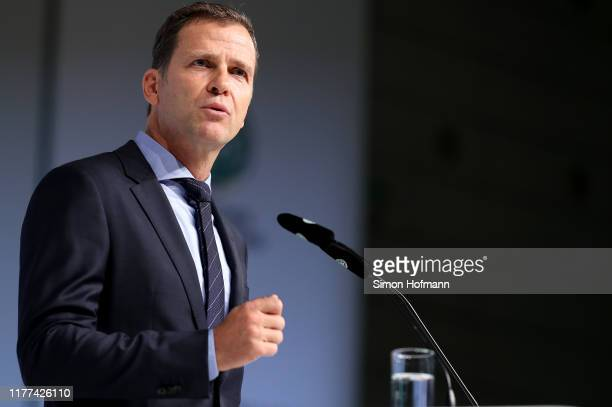 Director for national teams and the DFB academy Oliver Bierhoff speaks to the audience during the DFB Bundestag 2019 at Messe Frankfurt on September...