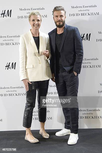 Director for Spain and Portugal Doris Klein and David Beckham present the Modern Essentials by H&M collection at H&M Gran Via store on March 20, 2015...