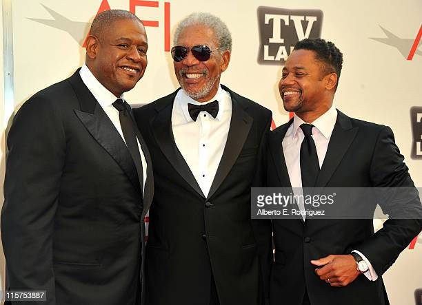 Director Forest Whitaker 39th Life Achievement Award recipient Morgan Freeman and actor Cuba Gooding Jr arrive at the 39th AFI Life Achievement Award...