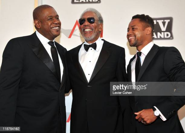 Director Forest Whitaker, 39th Life Achievement Award recipient Morgan Freeman and actor Cuba Gooding Jr. Arrive at AFI's 39th Annual Achievement...