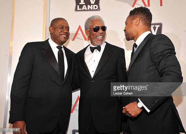 Director Forest Whitaker 39th Life Achievement Award recipient Morgan Freeman and actor Cuba Gooding Jr arrive at AFI's 39th Annual Achievement Award...