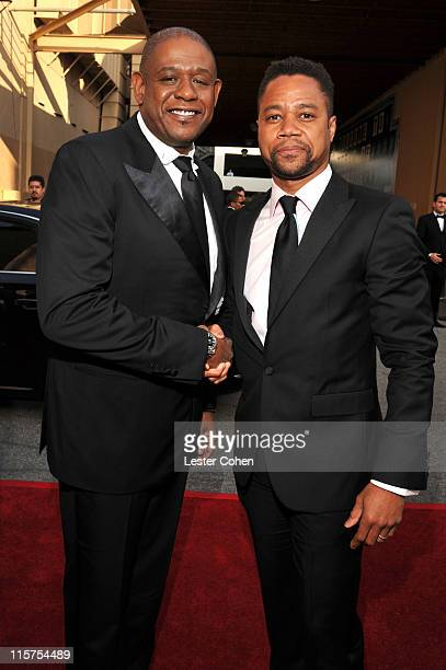 Director Forest Whitaker and actor Cuba Gooding Jr arrive at AFI's 39th Annual Achievement Award Honoring Morgan Freeman at Sony Pictures Studios on...
