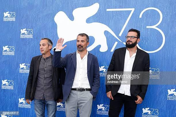 Director Francesco Munzi and editor Giuseppe Trepiccione attend a photocall for 'Assalto Al Cielo' during the 73rd Venice Film Festival at on...